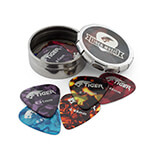 Tiger Pack of 12 Medium Guitar Picks W/ Pick Tin -Assorted Gauges