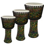 World Rhythm Goat Skin PVC Green Djembe Drum