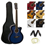 Single Cutaway Acoustic Guitar with Accessories - Blue