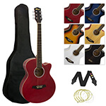 Single Cutaway Acoustic Guitar with Accessories - Red
