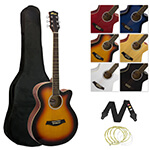 ACG3-SB Full Size Sunburst Single Cutaway Acoustic Guitar with Gig Bag, Spare Strings and Strap