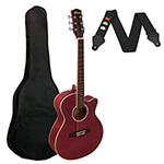 Tiger Small Body Acoustic Guitar for Beginners - Red