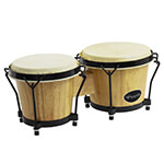 World Rhythm Bongo Drums in Natural Finish - Wooden Bongos for Beginners