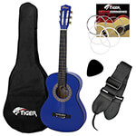 Tiger Childrens Left Handed Blue 3/4 Size Classical Guitar Package