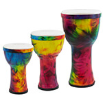 World Rhythm PVC Pretuned Djembes - Rainbow