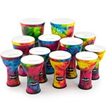 12 Player Pre-Tuned PVC Djembe Drums by World Rhythm Percussion – African Drum in Vibrant Colours