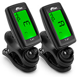 Tiger T-47 Clip On Tuner Digital Chromatic for Guitars, Ukulele - 2 Pack