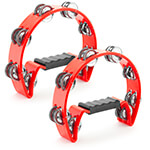 Tiger Pack of 2 Half-Moon Red Tambourines