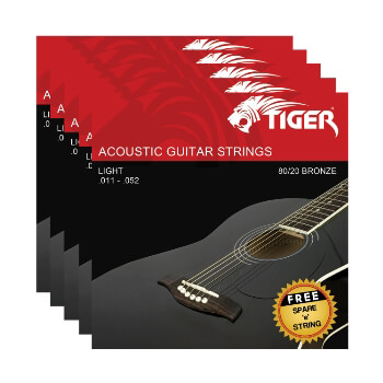 Tiger Acoustic Guitar Strings - Pack of 5 Super Light (11-52) Sets