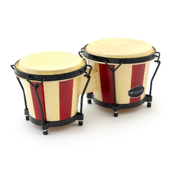 "World Rhythm BON14 Wooden Bongos – 6"" & 7"" Heads in Natural and Red Stripe Finish, Great for School Percussion"