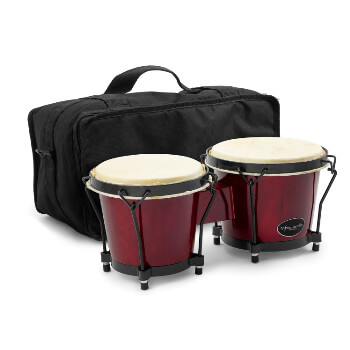 "World Rhythm 6"" & 7"" Beginners Oak Bongo Drums - Wine Red with Padded Gig Bag"