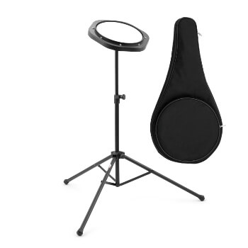 "Tiger DHW4-BK 8"" Practice Pad and Stand Pack for Beginners, Warm Ups and Practice Snare Tom Rudiments"