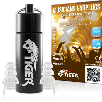 Tiger Professional Musician's Earplugs SNR 20dB