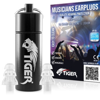 Tiger Ear Plugs with Aluminium Tube - Hearing Protection SNR 26dB