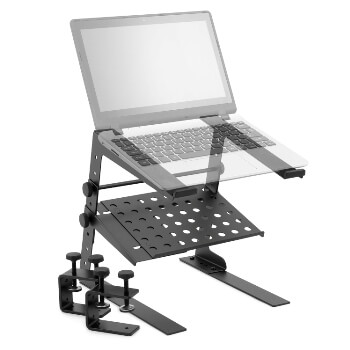 Tiger Laptop Stand / DJ Controller Stand with Shelf and Desktop Clamps