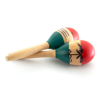 World Rhythm Natural Hand Painted Wooden Maracas – Childrens Percussion Instrument, Small