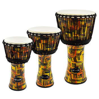 World Rhythm Goat Skin PVC Orange Djembe Drum