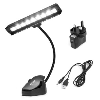 Tiger Orchestra Music Stand Light - 9 Quality Super LEDs, 3x AA Batteries Included