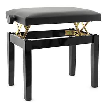 Tiger Classic High Gloss Black Adjustable Piano Stool