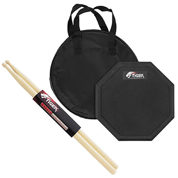 Tiger Drum Practice Pad with Tiger Hickory 5B Drumsticks