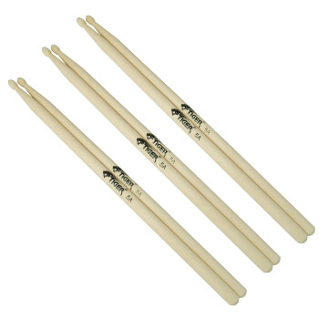 Tiger Pack of 3 5A Wood Tip Drumsticks