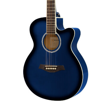 3/4 Acoustic Guitar by World Rhythm - Small Body Guitar for Beginners - Blue